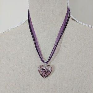 Jewelry - Purple Ribbon Necklace Glass Heart-Shaped Pendant